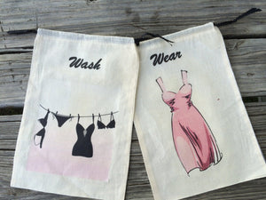 Travel Lingerie bag, laundry bags, Muslin travel lingerie bags, wash and wear laundry bags, Bridesmaid gifts,
