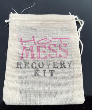 10 Hot Mess recovery kits, bachelorette party favor bags, hangover kits, hangover favors, bridesmaid gifts