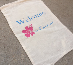 Beach wedding welcome bag,  Hawaiin welcome bag, paradise welcome bag, flip flop bag, drawstring welcome bag, out of town bag