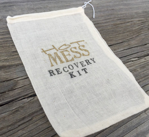 1 Gold Hot Mess Recovery Kits,5x7 Bachelorette Party Favor Bags, Hangover Kits, Hangover Favors, Bridesmaid Gifts, Wedding, Gatsby