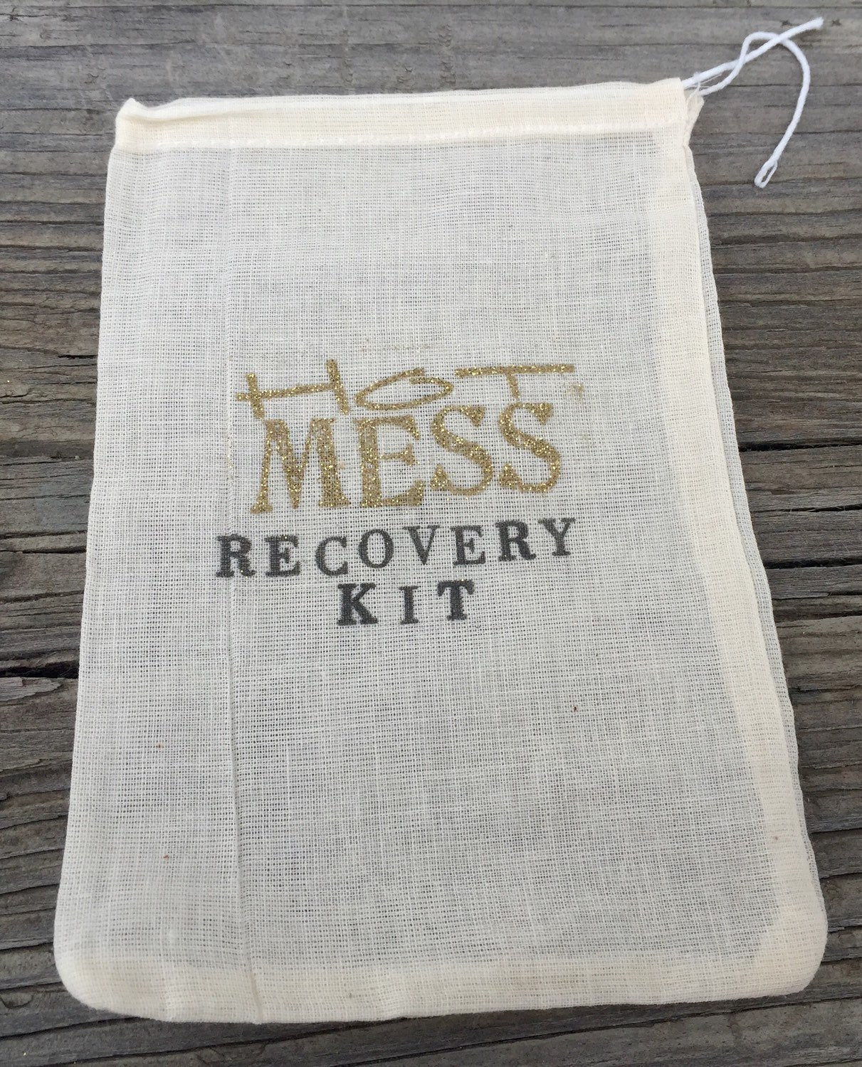 10 Gold Hot Mess recovery kits, 5x7,  bachelorette party favor bags, hangover kits, hangover favors, bridesmaid gifts