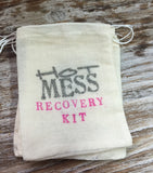 15 glitter hot mess recovery kits, pink and silver bachelorette hangover kits, bridesmaid recovery kits, bling recovery kits