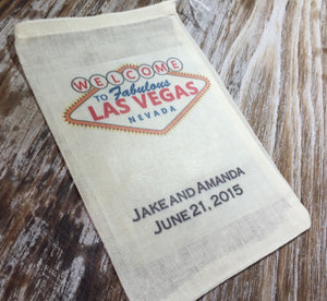 18 personalized Las Vegas wedding favor bags, destination wedding, Vegas wedding favors, Las Vegas welcome bags