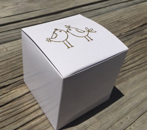10 gold embossed cupcake boxes, lovebirds Cupcake box, wedding favor box, gold and white favor box
