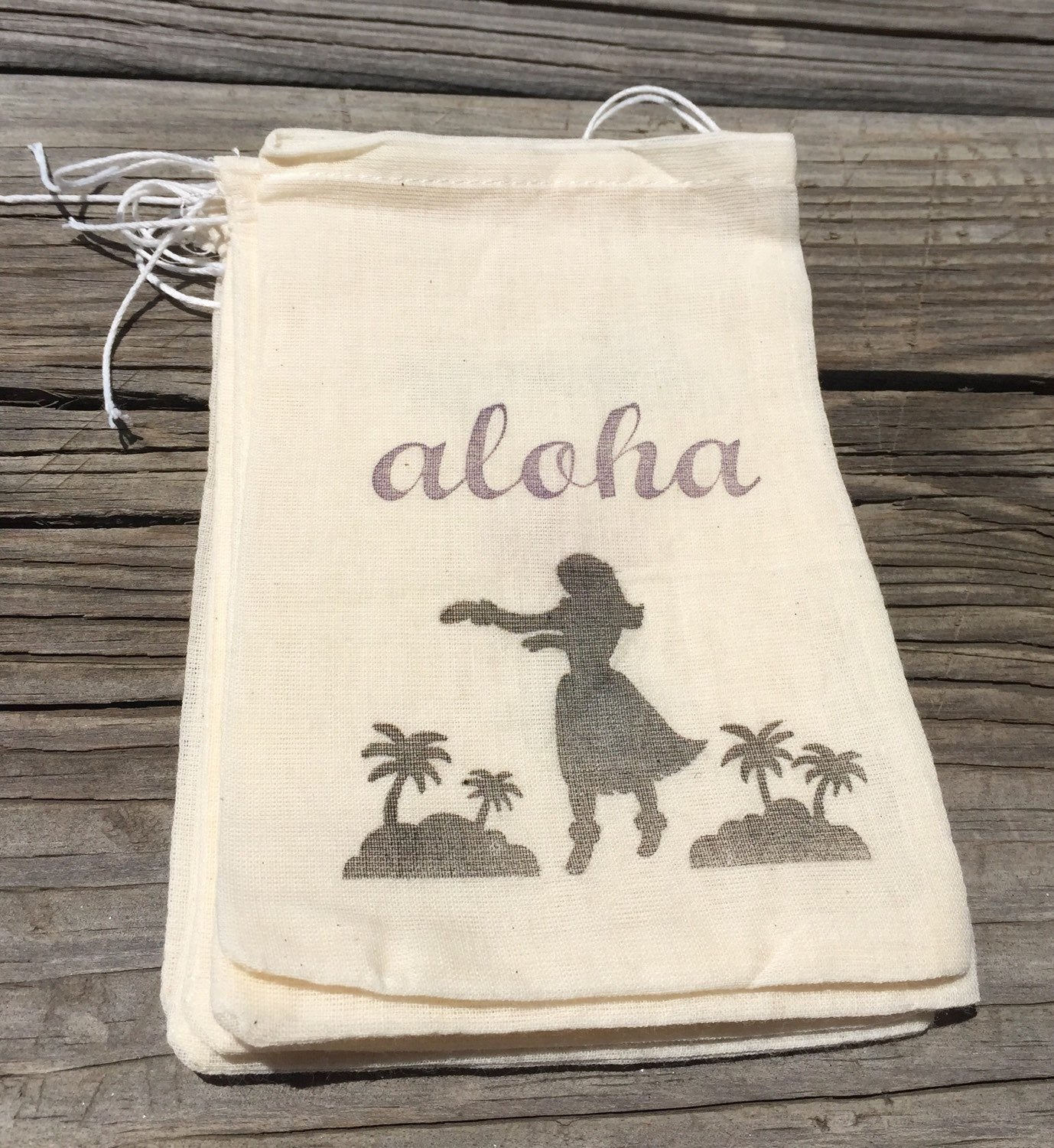 10 Hawaiian Favor Bags, Aloha favor bags, hula girl favors, luau party favors, Hawaiian wedding, beach wedding
