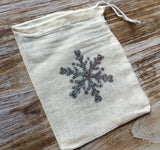 10 Christmas glitter giftbags, silver snowflake bags, small Christmas treat bags, gift card bags, Christmas party favors