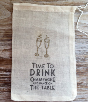 10 wedding favor bags, champagne favor bags, gold glitter bags, welcome bag favors, Time to drink champagne and dance on the table.