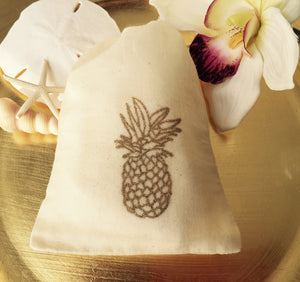 10 Gold Pineapple cotton favor bags, beach wedding favors, gold glitter beach favor bags, pineapple favor bags, destination wedding favors