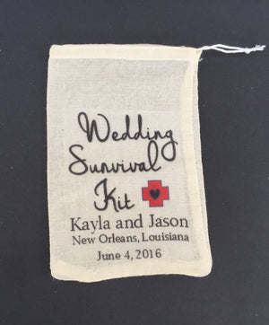 10 wedding survival kit bags, wedding day survival kit, wedding recovery kit, hangover kit, survival kit, recovery kit, wedding emergency ki