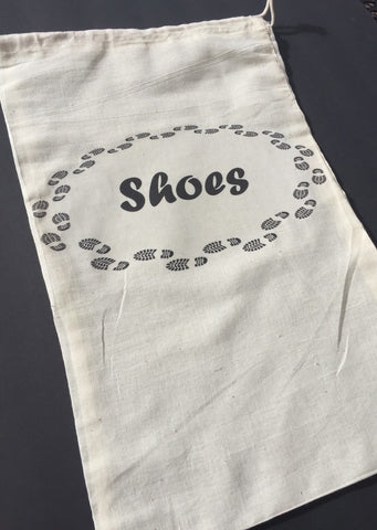 Travel shoe bag, muslin shoe bag, travel gift, destination wedding travel bag, groomsmen gift