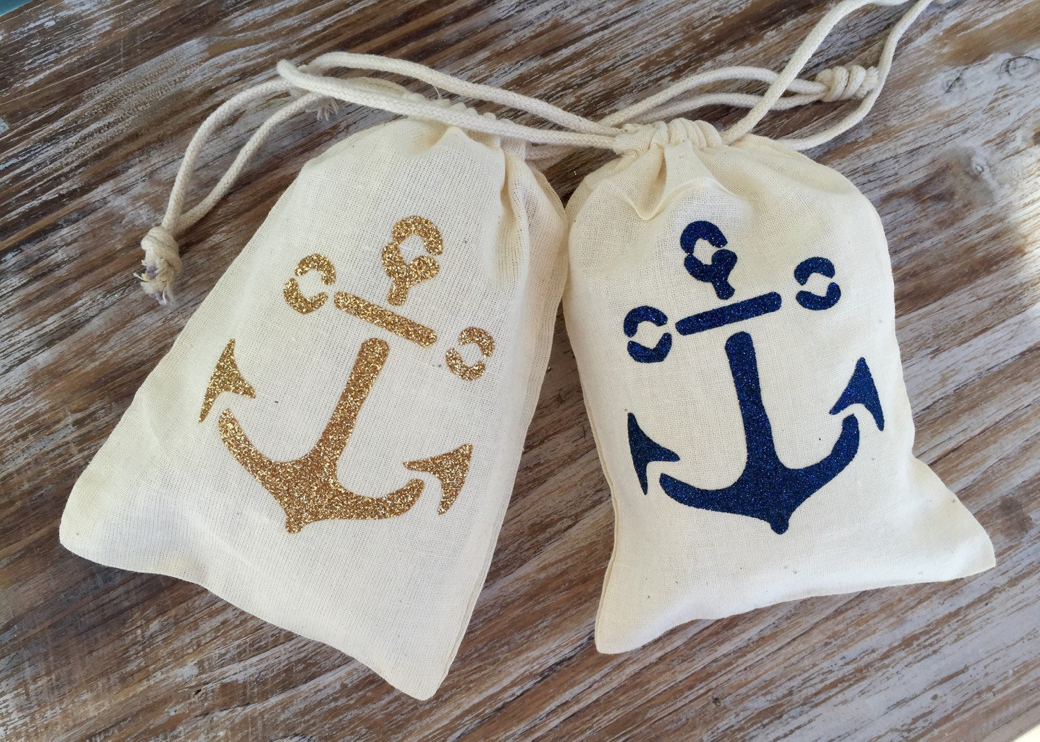 "10 gold glitter double drawstring anchor favor bags, 6"" by 8"" gold anchor bags, gold glitter anchor drawstring bags, gold nautical wedding f"