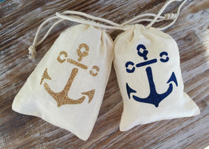 10 blue glitter double drawstring anchor favor bags, anchor bags, blue glitter anchor drawstring bags, nautical wedding favors