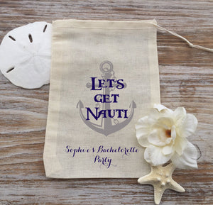 10 Nautical favor bags, 5x7 bachelorette party favor bags, bachelorette hangover kits, hen party, bachelorette ideas
