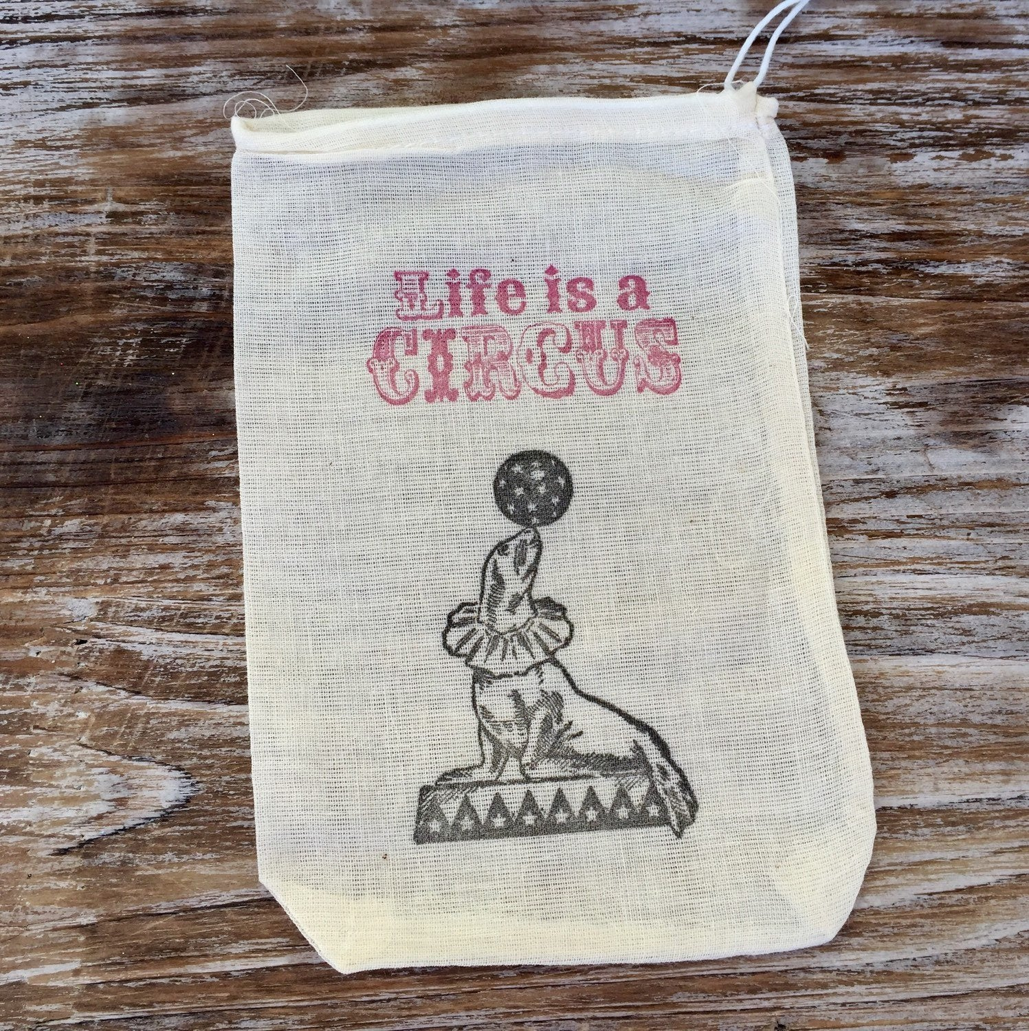 10 circus favor bags, circus themed party bags, life is a circus treat bags, circus goodie bags