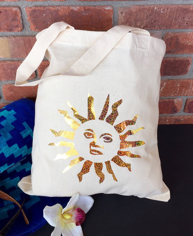 Sunshine tote bag, gold sunshine tote, Mexico wedding welcome bag, beach wedding tote, gold tote