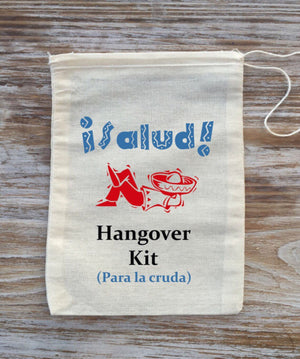 10 mexican ¡Salud! hangover kits, beach hangover kits, Mexico hangover kits, bachelor party hangover kits, mexican wedding