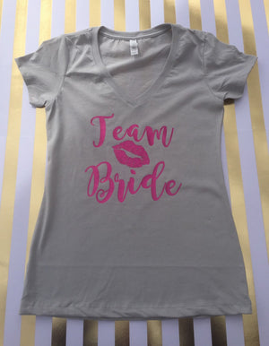 Team Bride Vneck Tshirt, Bridal party tshirt, wedding tshirt, bachrlorette party  tshirt, bride shirt, bride squad, wedding day shirt