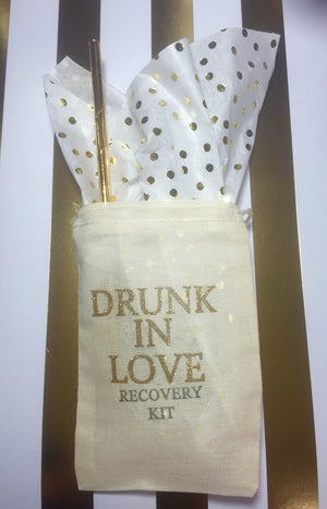 10 Gold Drunk in love Hangover kits, recovery kit, bachelorette survival kit, bachelorette party favor, girls night out