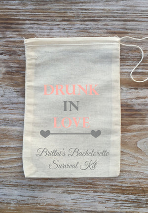 10 Drunk in love Hangover kits, Personalize, bachelorette survival kit, bachelorette party favor, girls night out