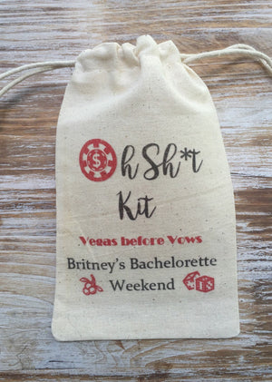 10 Las Vegas 5x7 Oh Shit kits, Custom hangover kits, bachelorette recovery kits, bachelorette party, welcome bag, Wedding Favors