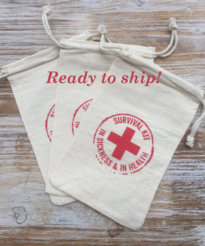 80 survival kits-in sickness and in health, wedding favor bags, recovery bags, first aid bags, hangover kits, hangover bags, wedding welcome