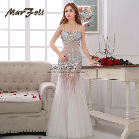MarFoli Luxury Crystal Floor-Length Full manual Sexy Star dress Evening dress Cocktail dress Tulle Illusion prom Customized Gown