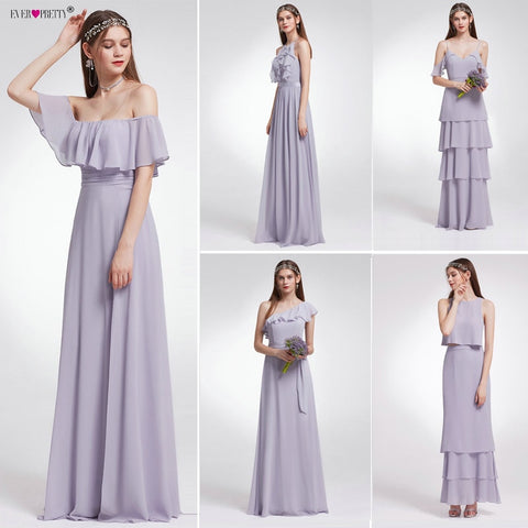 Ever-Pretty Women Wedding Long Bridesmaid Dresses Chiffon Sexy A Line Sleeveless Formal Wedding Guest Party Bridesmaid Dress