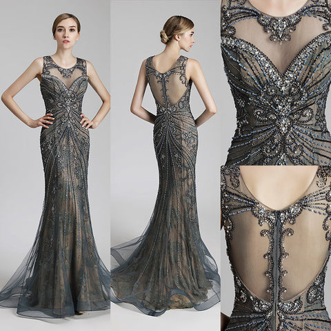 Real Picture Luxury Beading Long Mermaid Celebrity Dresses Vintage Steel Tulle Party Dress Women Fashion Red Carpet Gowns OL429