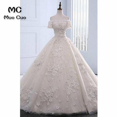 2018 Off Shoulder Wedding Dresses with Short Sleeves Robe De Mariage Ball Gown Lace Bridal Gown Wedding Dress Custom Size