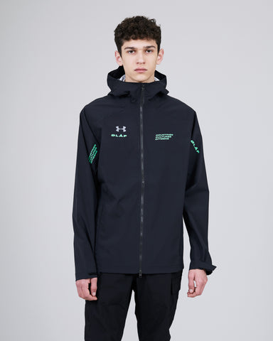 ØLÅF x UA Sports Jacket Black, 100% PES fabric, Front zipper, Two side pockets, Logo on chest, left and right arm, Made in Indonesia