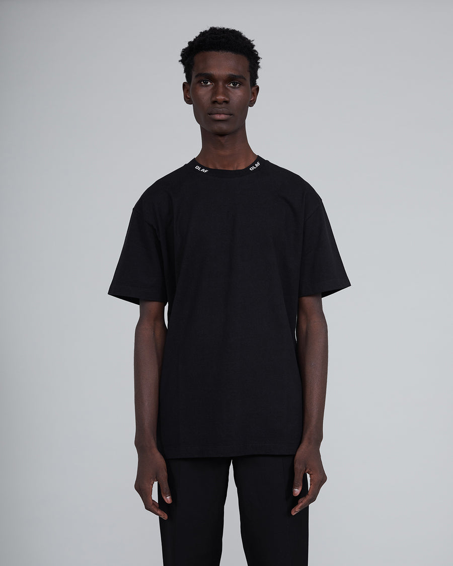ØLÅF Branded Rib T Black, Portuguese fabric, 100% cotton (220 grams/sqm), Post wash, Branded rib, Made in Portugal