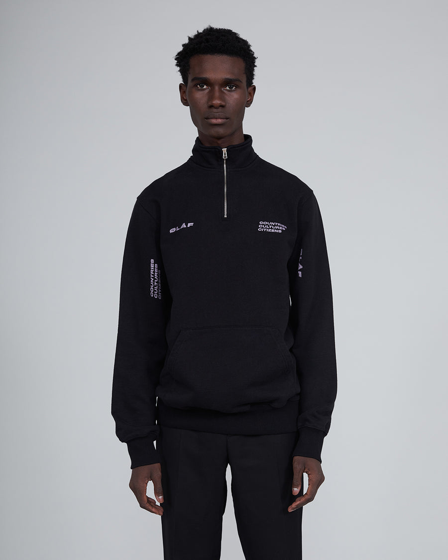 ØLÅF CCC Zip Mock Sweater <br>Black / Purple