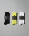 3-Pack ØLÅF Italic Socks Neon / Black, 75% Portuguese cotton, 23% polyamide, 2% elastane, Logo on ankle and foot, Made in Portugal.