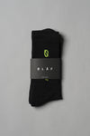 ØLÅF Italic Socks Black / Neon, 75% Portuguese cotton, 23% polyamide, 2% elastane, Logo on ankle and foot, One size fits all, Made in Portugal
