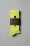 ØLÅF Italic Socks Neon Yellow, 75% Portuguese cotton, 23% polyamide, 2% elastane, Logo on ankle and foot, One size fits all, Made in Portugal