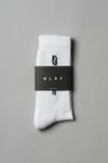 ØLÅF Italic Socks White, 75% Portuguese cotton, 23% polyamide, 2% elastane, Logo on ankle and foot, One size fits all, Made in Portugal