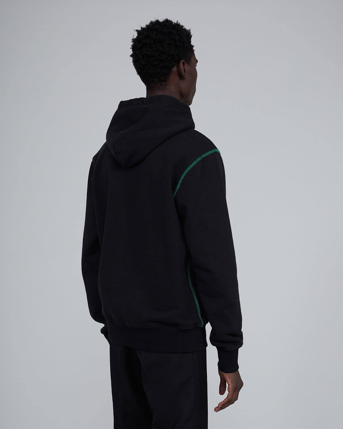 ØLÅF Italic Hoodie Black / Green, Portugese fabric, New Fleece Fabric, Post Wash, Fine Ribbed Color, 100% Cotton, Made in Portugal