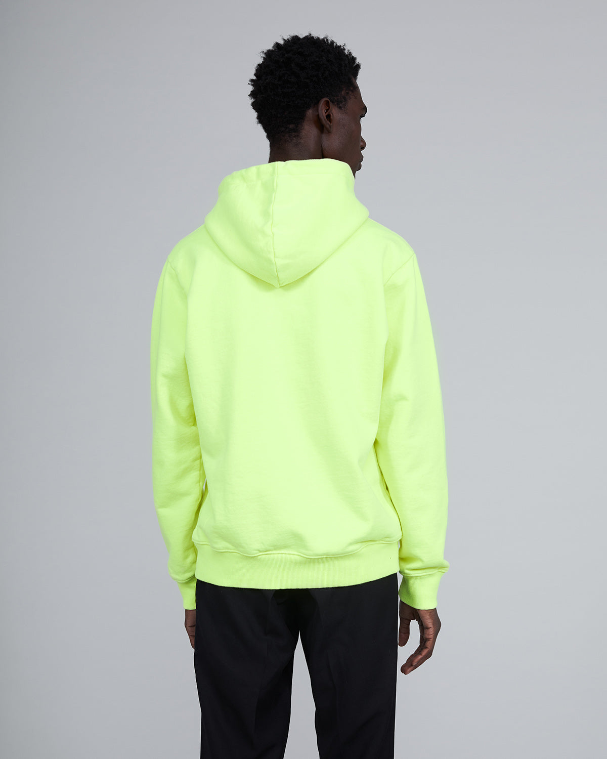 ØLÅF Italic Hoodie Neon Yellow, Portugese fabric, New Fleece Fabric, Post Wash, Fine Ribbed Color, 100% Cotton, Made in Portugal