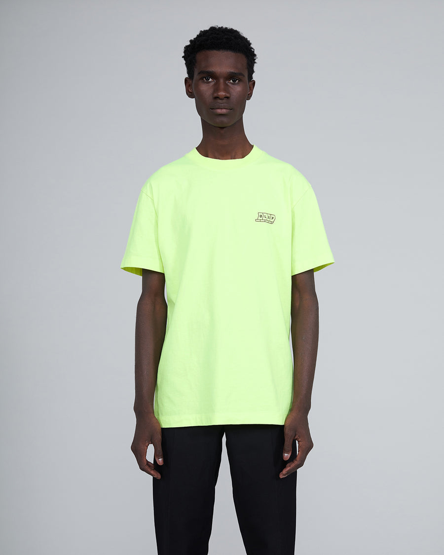 Sign Here T Neon Yellow, Portuguese fabric, 100% cotton (220 grams/sqm), Post wash, Fine ribbed collar, Made in Portugal