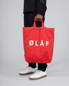 ØLÅF Tote Bag Red, Heavy cotton twill fabric, White logo centered on the front, Inside pocket, Made in Portugal, Length 45cm / Width 35cm / Depth 13cm, Handles 29cm / Shoulder strap 86cm