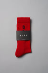 ØLÅF Italic Socks Red / Black, 75% Portuguese cotton, 23% polyamide, 2% elastane, Logo on ankle and foot, Made in Portugal