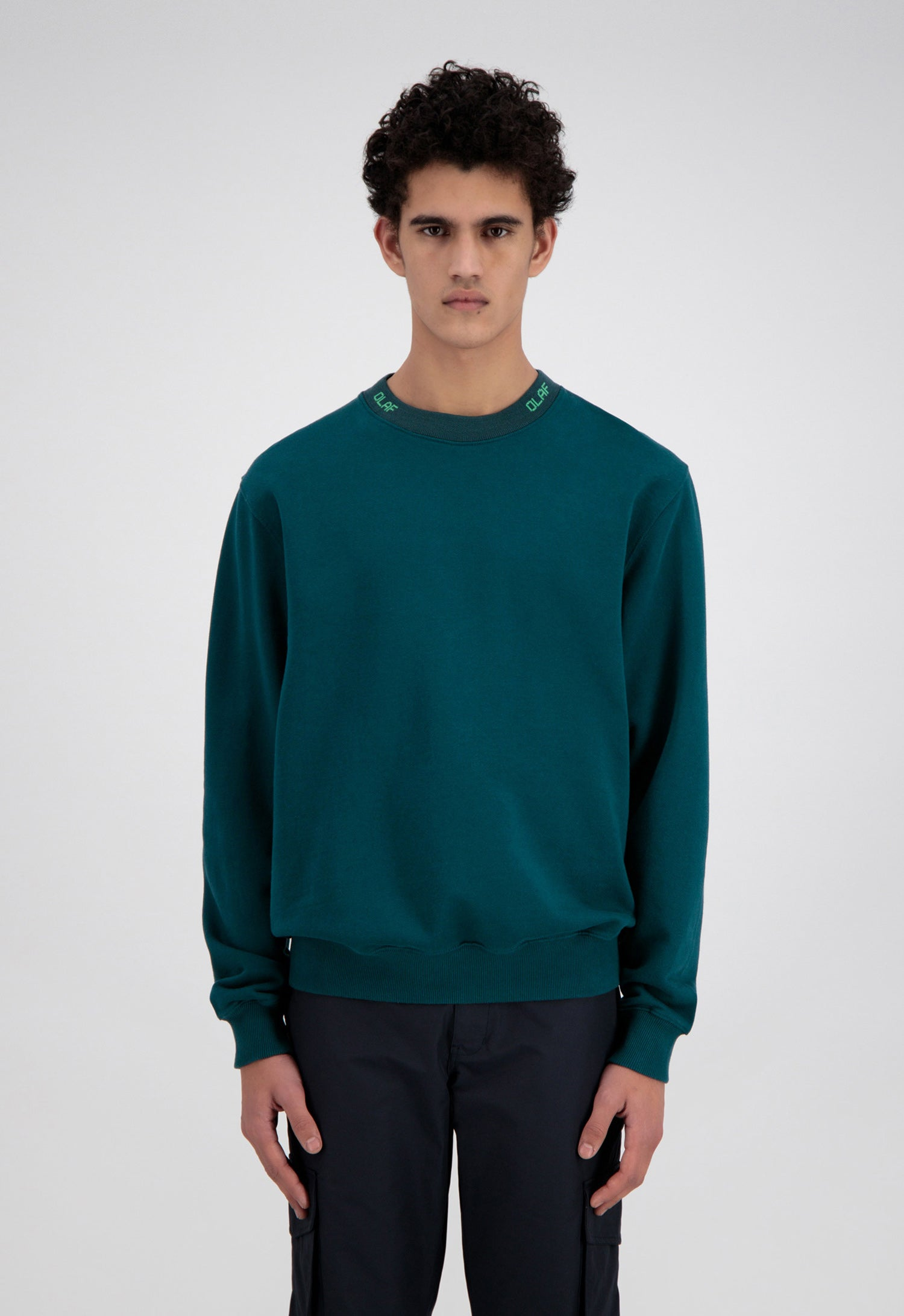 ØLÅF Branded Rib Crewneck <br>Dark Green