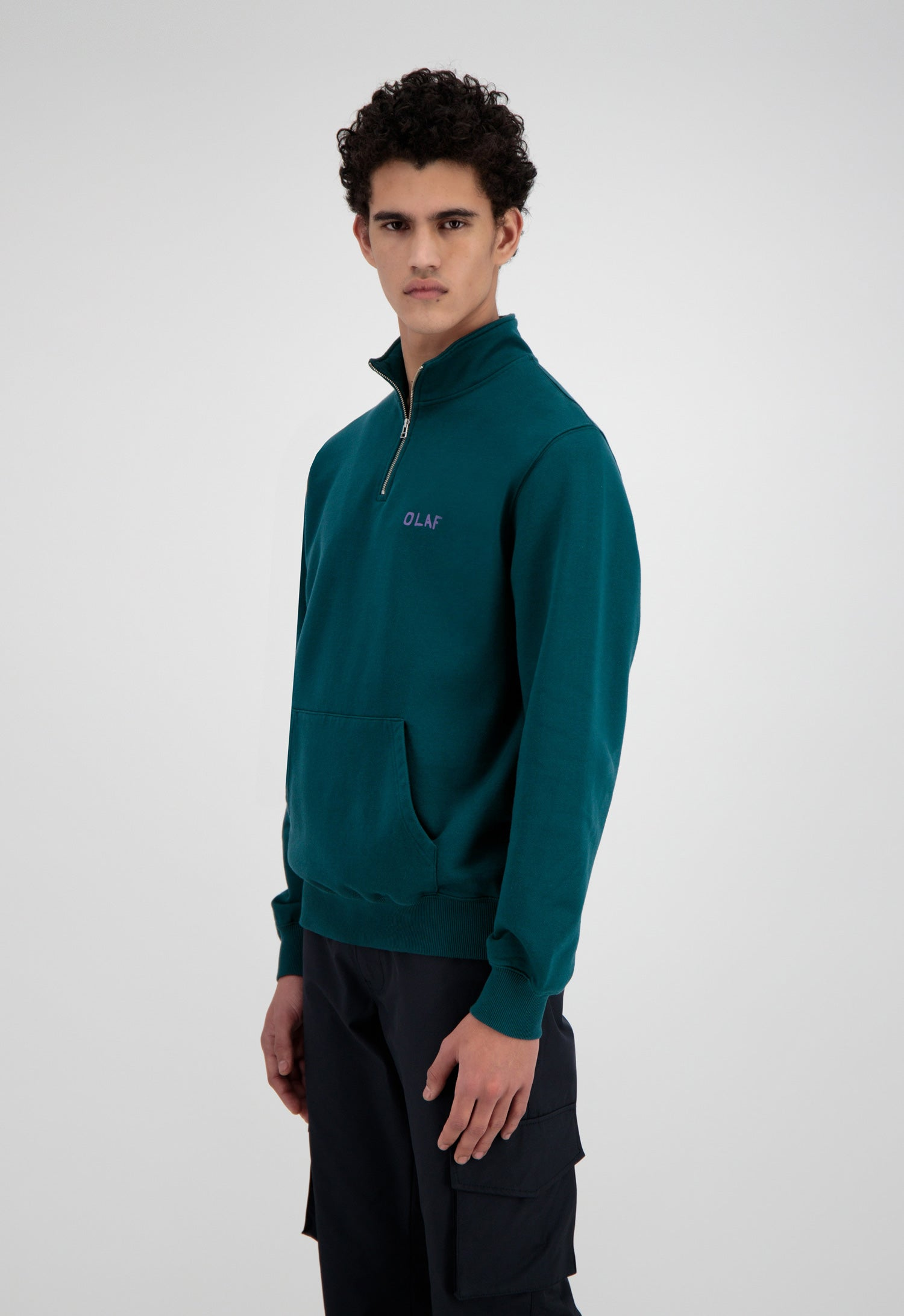 ØLÅF Tagged Zip Mock Sweater <br>Dark Green