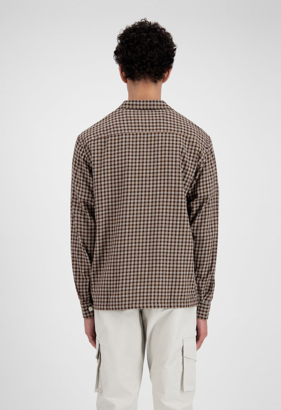 ØLÅF Flannel Check Overshirt <br>Brown / Yellow