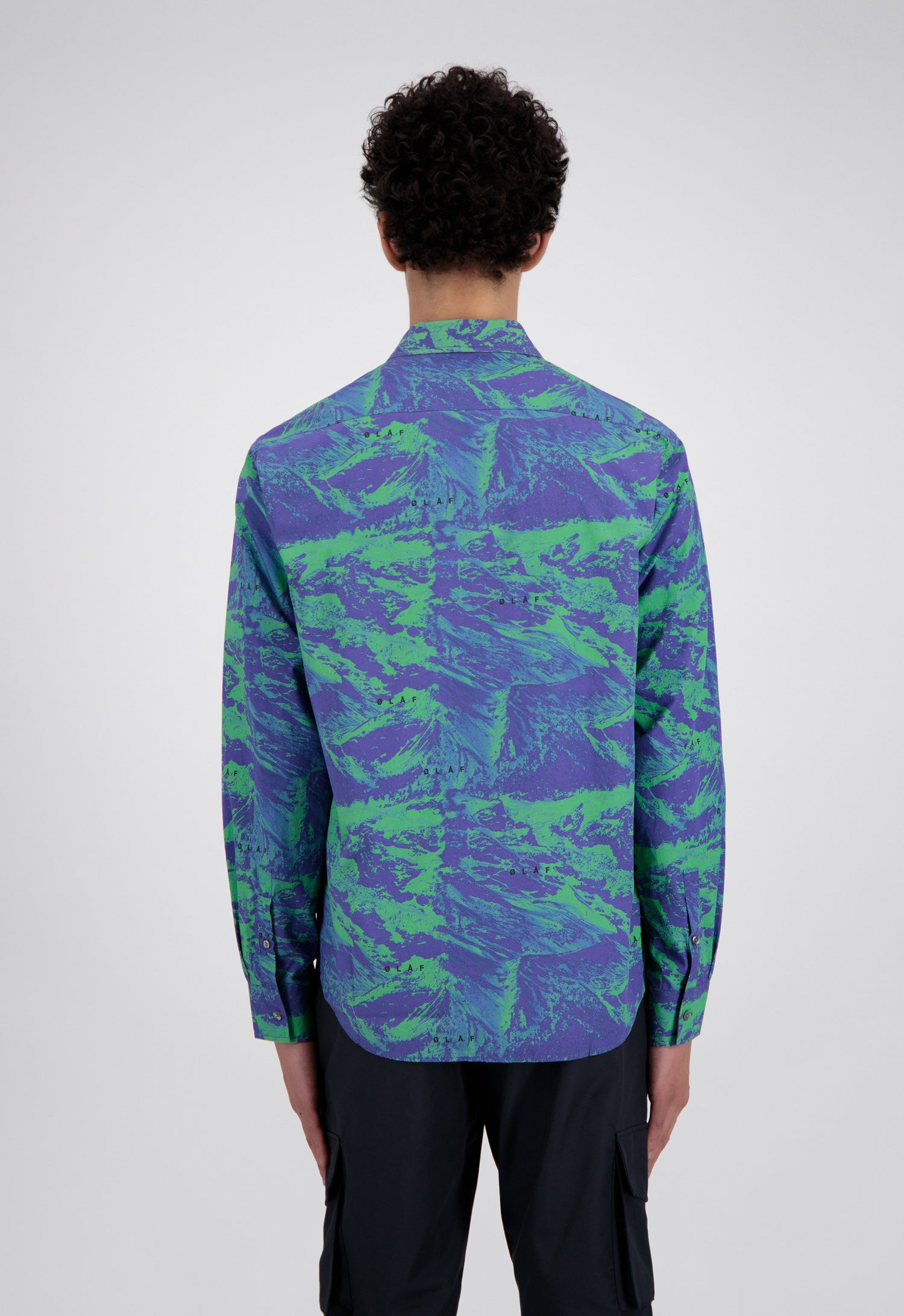 ØLÅF Mountain Print Shirt <br>Blue / Green
