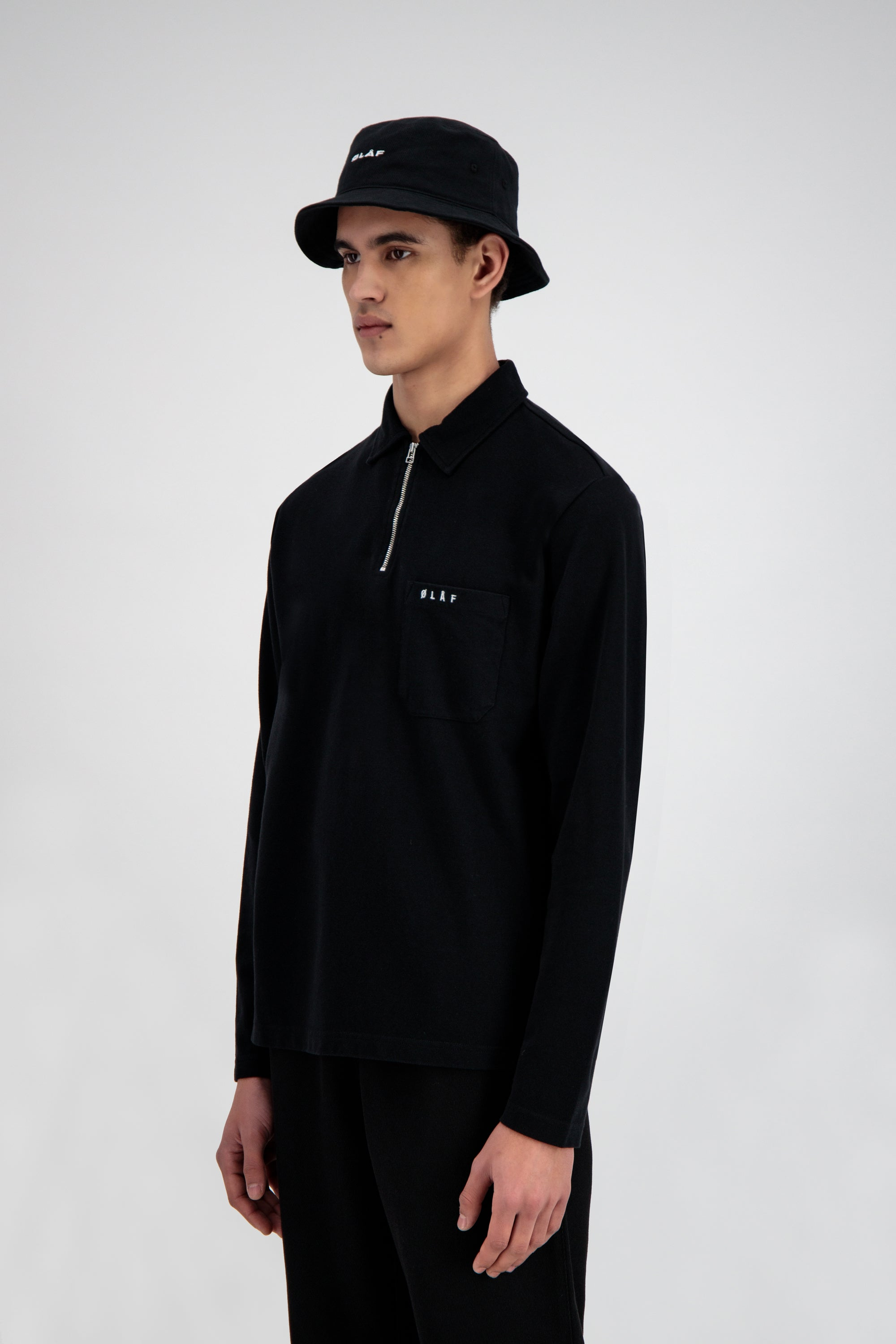 ØLÅF Zip Polo LS Tee <br>Black