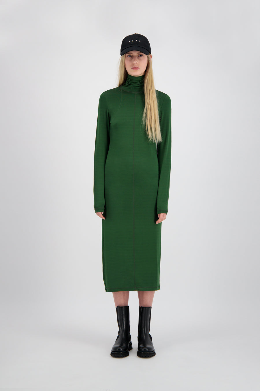 ØLÅF Turtleneck Dress <br>Forest Green