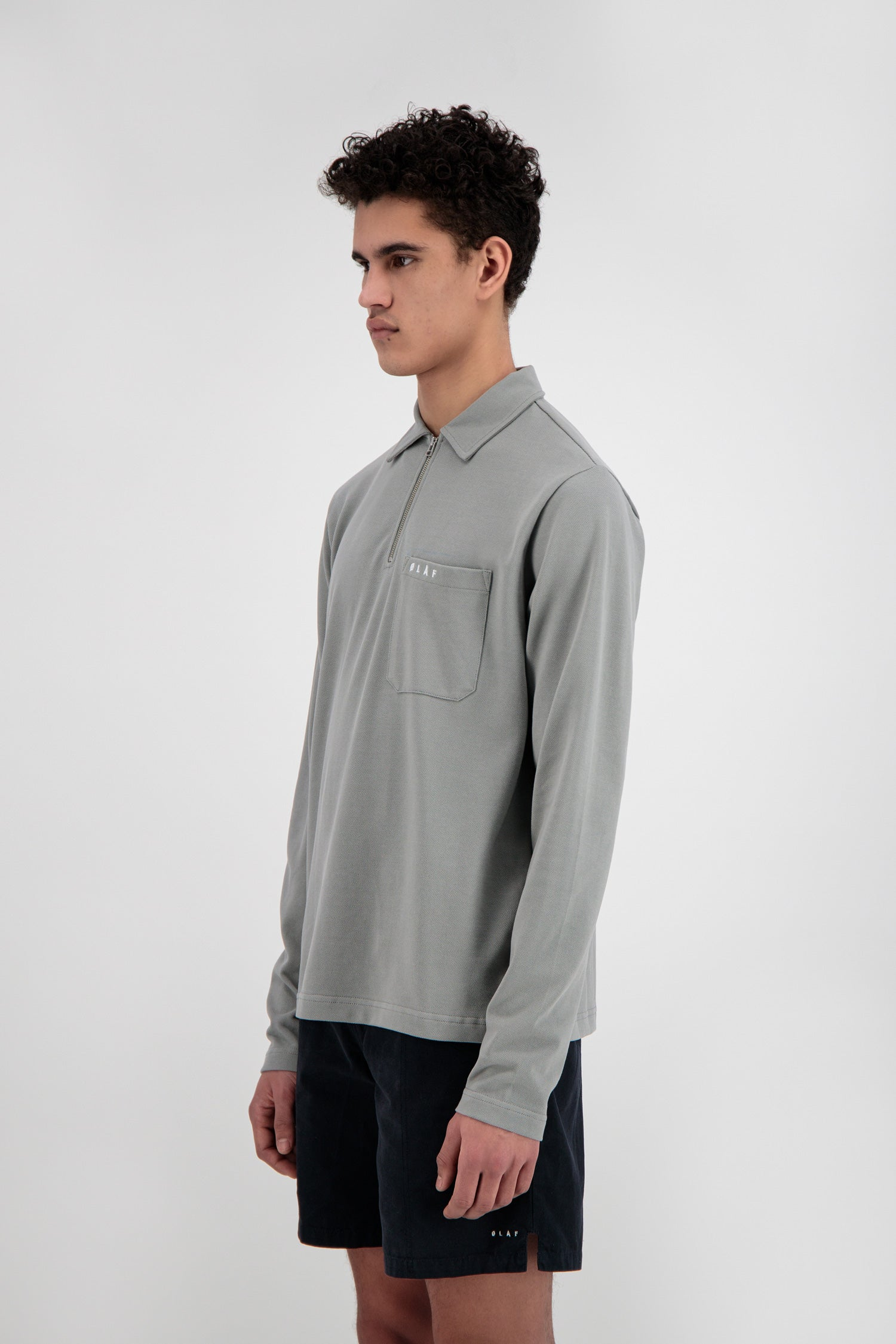 ØLÅF Zip LS Polo<br>Grey