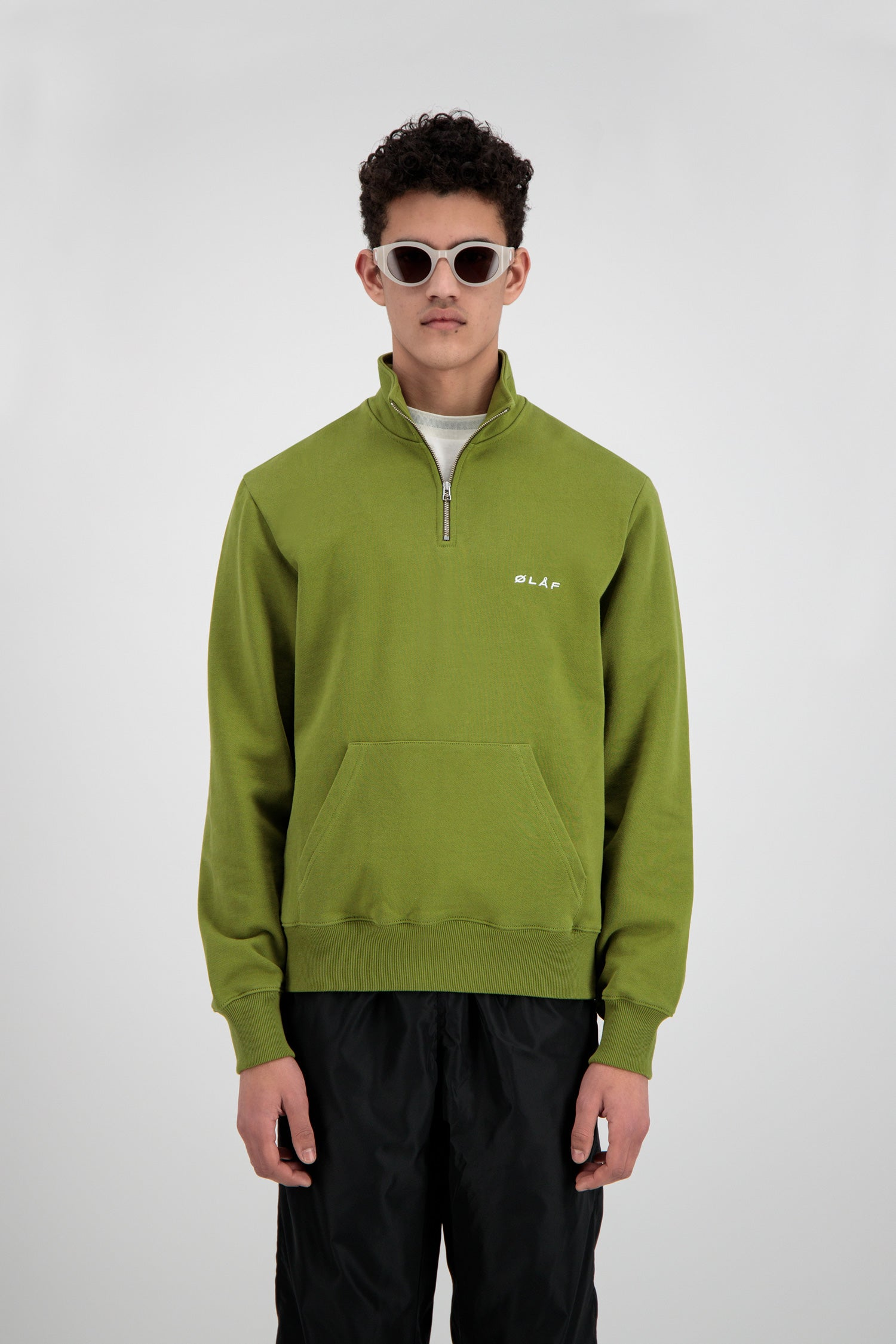 ØLÅF Zip Mock Sweater <br>Avocado Green