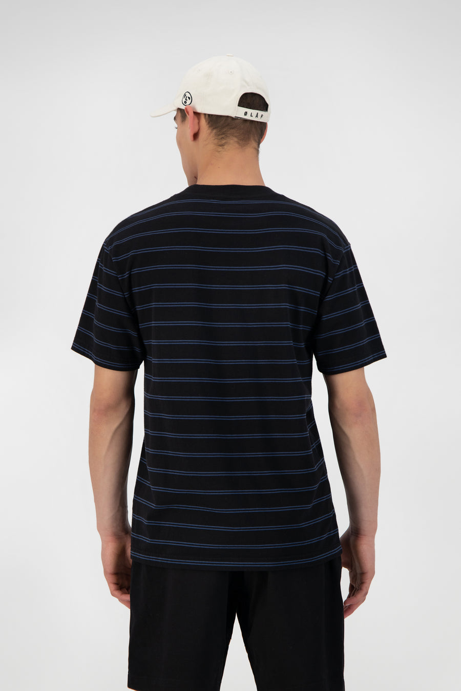 ØLÅF Mini Stripe Tee <br>Black / Blue Slate